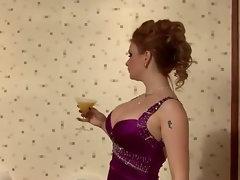 Glam euro fetish bitch sucks on gloryhole cock