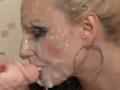 Nasty little Slut Lena Cova gets her face sprayed with cock cream