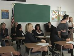 Alexis Texas has some lesbian fun with her classmates in pigtails