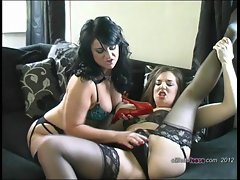 Busty lesbians pleasure each other with hard stilettos