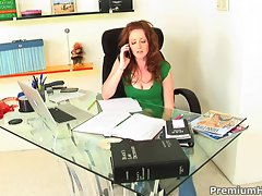 Redhead babe Nikki Rhodes loves to fuck at work