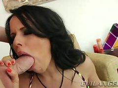 Diamond Kitty shoves this hard dick down her throat