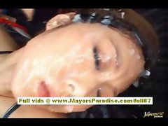 Miho Maeshima lovely asian doll is tied up and getting bukkake on her face