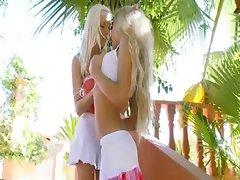 Unbelievable blondes vibrating asses