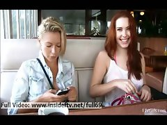 Melody and Lena _ Lesbian babes flashing her ass and boobs and posing in public