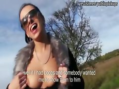 Kinky amateur flashes tits and pounded doggystyle in public