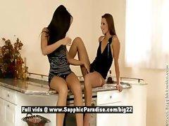 Kissy and Sandra and Klaudia stunning lesbian girls teasing