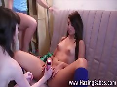 Amateur hot babes in lesbien frat house initiation games