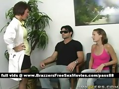 Young redhead babe goes with her blind husband to the doctor