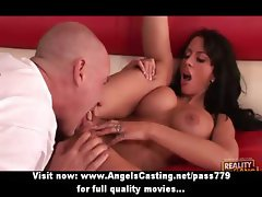 Naughty brunette milf with a gun does blowjob and has pussy licked