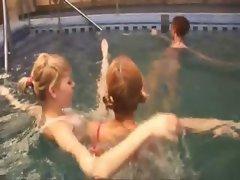 Three russian schoolgirls in the pool