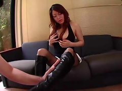 Jap chick in boots