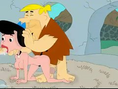 Fred and Barney fuck Betty Flintstones at cartoon porn movie