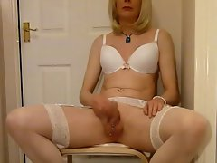 Pierced Tgirl Sapphire Delights Herself And Cums