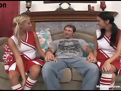 Lewd cheerleaders share with one huge dick-1