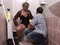 Filthy Blond Gets Banged and Fisted on the Toilet