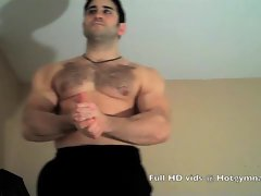 Cumming Hirsute Thick Dick Stroke with muscle stud live