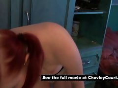 Hairy chav girl getting changed