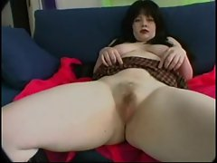Fat Chubby GF with Big Tits masturbate her Hairy Pussy