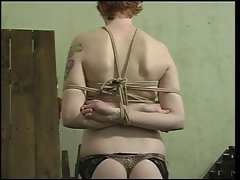 Sexy slave with a nice rack, bound &amp, gagged, with her pussy being teased