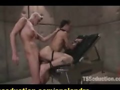 Big Dicked Shemale Anal and Mouth Humiliates hers Slave