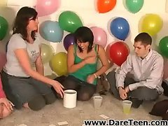 Cute chick kiss a guy on truth or dare