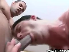 Muscular masseur gets balls deep blowjob