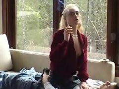 Nerdy Blonde Girl Smoking and Fucking