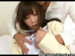 Japanese schoolgirl fondled by old man