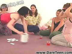 Eyefolded girl playing truth or dare