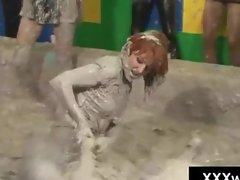 Hotties get kinky in filthy out of control mud wrestling match