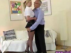 Naughty schoolgirl babe in stockings
