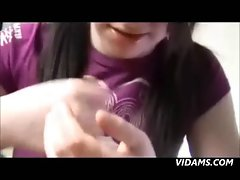 Ponytail And Braces POV Handjob