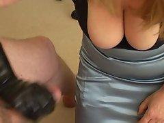 Busty slut uses man to spunk