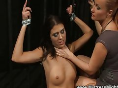Lez domina prepares slave for punishment