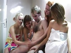 Sexy cfnm sauna babes