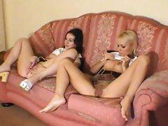 Two Amateur Girls Watch Porn & Cum Together