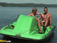 Outdoor foursome with a horny blonde teen