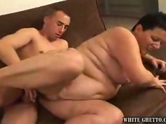 Mature bbw rides her boyfriends horny cock on the couch