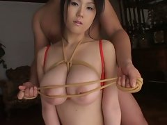 Yuna getting her big natural breasts tortured and played for you