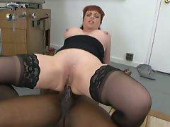 Horny milf slut rides a big black cock in her ass