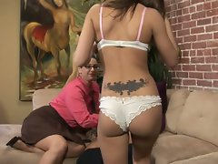 Mom takes dick in her hand and shos daughter how to do it right