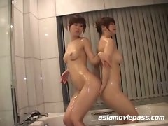 Horny japanese lesbian sluts pussy eating after shower