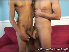 Two thin gay doing blowjob and handjob