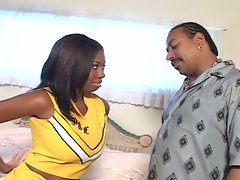 Babe ebony cheerleader earns extra credit
