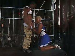 Ebony cheerleaders saves self by sucking cock