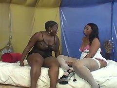 Hot ebony lesbian takes her tight pussy slamming