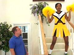 Ebony cheerleader showing off her skills