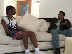 Ebony cheerleader gets an ass-drilling
