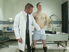 Nasty gay doctor tortures bound twink